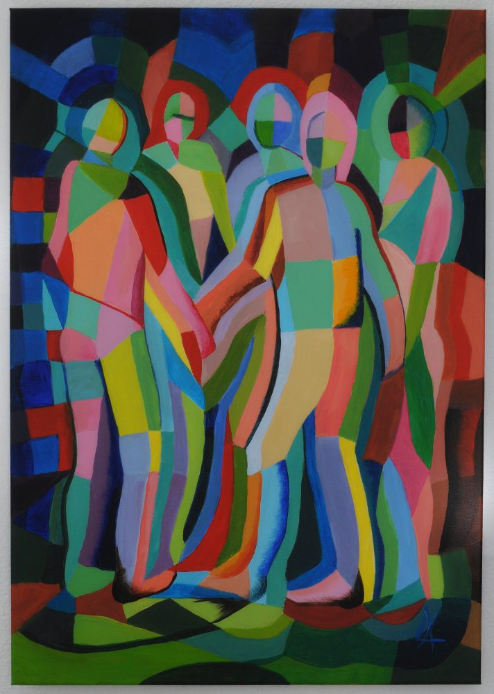 Inspired by Delaunay and based on my sketch in a bar, where people danced hand in hand.  Acrylic on canvas 50x70 cm