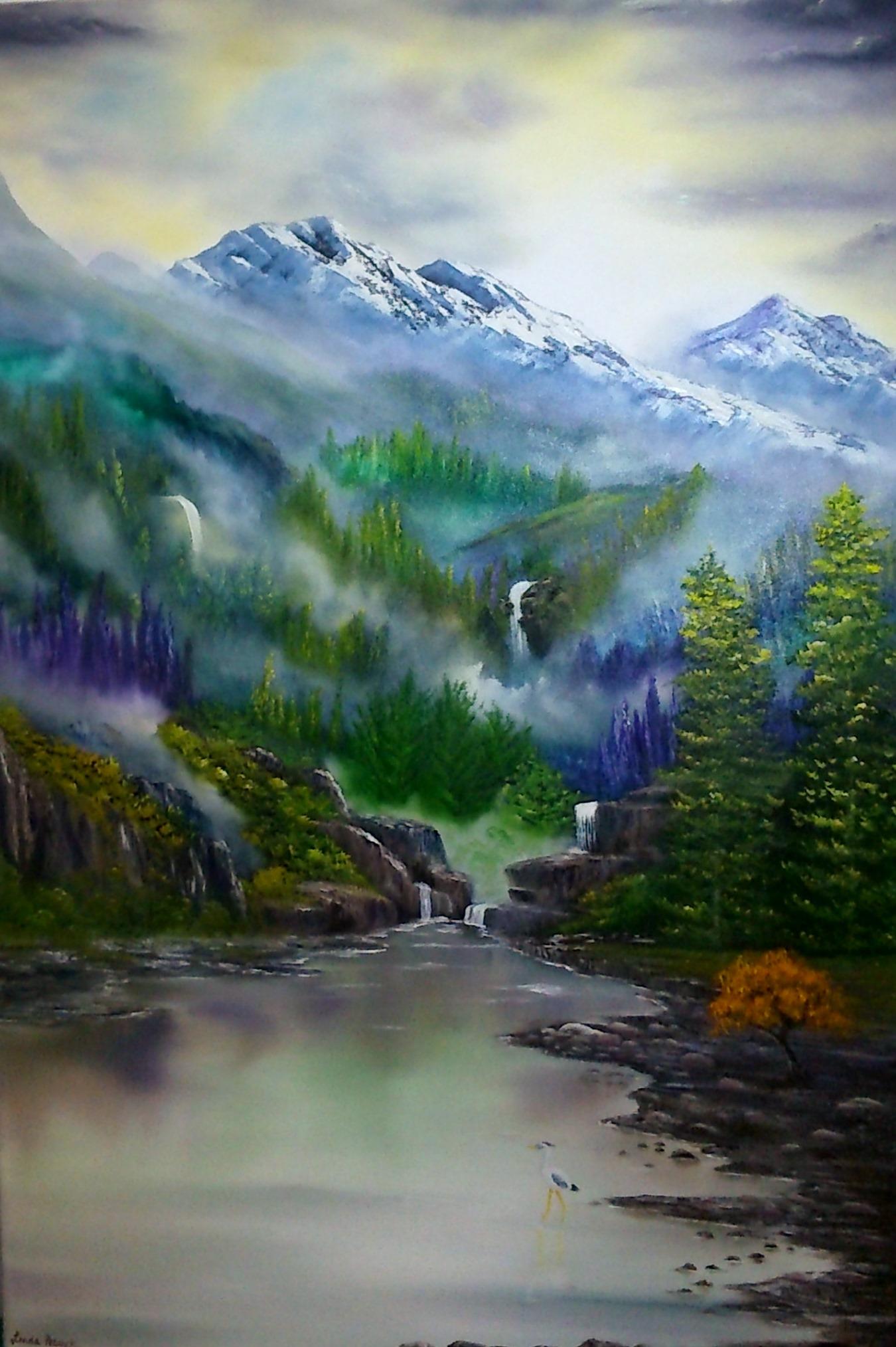 Acrylic and oils on a chunky canvas. 36