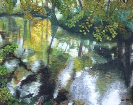 "Autumn at Wentworth and as the river waters ripple, golden colours reflect in the water.  Acrylic on canvas 20""x16"""